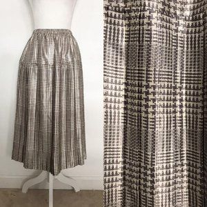 Vintage Pleated Skirt - Gray White Houndstooth